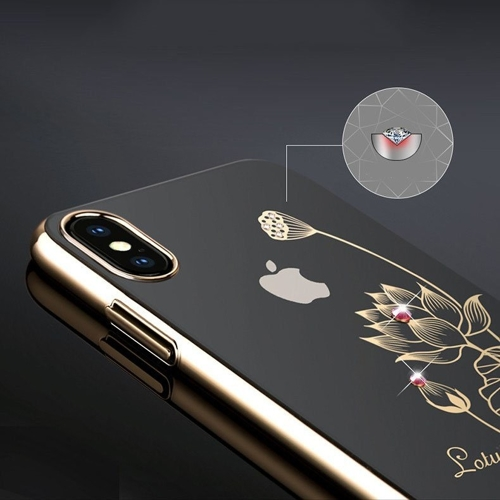 Kingxbar Flower Series case decorated with original Swarovski crystals Huawei Mate 20 Pro rose gold