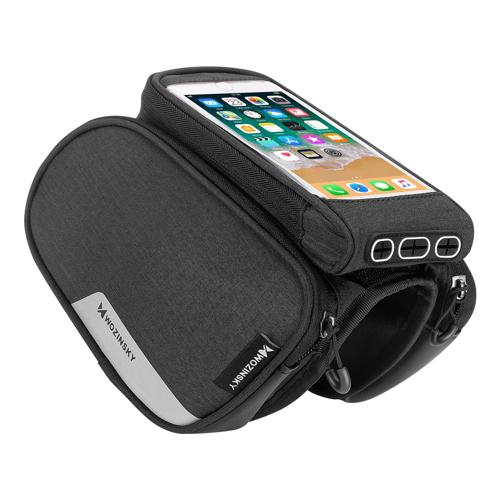 Wozinsky Bike Front Storage Bag Bicycle Frame Phone Case 6,5 inch max 1,5L black (WBB7BK)