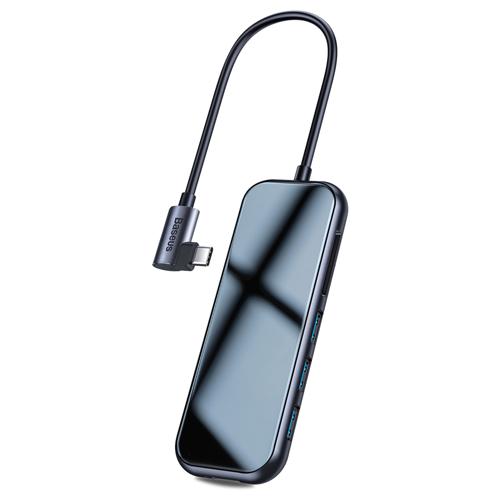 Baseus Adapter HUB USB Typ C auf 3x USB 3.0 / HDMI 4K / Kartenlesegerät SD, TF, micro SD / USB Typ C PD für MacBook / PC grau (CAHUB-CZ0G)