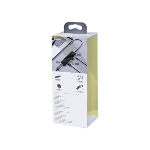 Baseus Adapter HUB USB Typ C auf 3x USB 3.0 / HDMI 4K / USB Typ C PD für MacBook / PC grau (CAHUB-BZ0G)