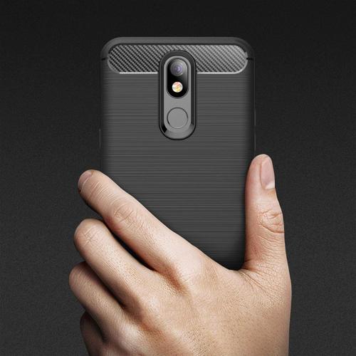 Carbon Case Flexibel Handyhülle TPU Schutzhülle für LG K40 X420 schwarz