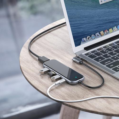 Baseus adapter przejściówka HUB USB Typ C na 3x USB 3.0 / HDMI 4K / USB Typ C PD do MacBook / PC szary (CAHUB-BZ0G)
